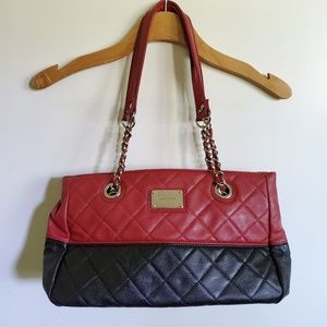 Nine west red and black purse